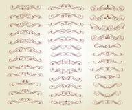 Ställ in av retro textavdelare och dekorativa calligraphic linjer royaltyfri illustrationer