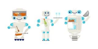 Ställ in av robotuppassare och kock i plan stil stock illustrationer