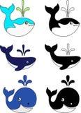 Ställ in av rolig färg och svartvita val Illustrationer med val för barn Marine Mammals vektor illustrationer