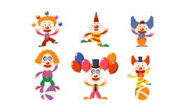 Ställ in av roliga clowner i olika handlingar Tecknad filmtecken av cirkuskonstnärer Plan vektor för annonsering av affischen ell vektor illustrationer