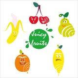 Ställ in av roliga frukter, citronen, persikan, aprikons, äpplet, päronet, bananen och körsbäret royaltyfri illustrationer