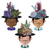 Ställ in av roliga krukor i form av pojkar med buketter av suckulenter stock illustrationer