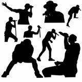 Ställ in av sångarekonturuttryck på etappen royaltyfri illustrationer