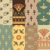 Ställ in av sömlös illustration för vektor åtta av den egyptiska nationella prydnaden stock illustrationer