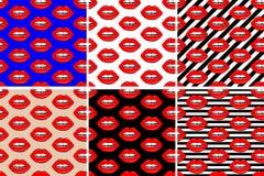Ställ in av sömlös modell för kanter härliga kanter av kvinnan med röd läppstift och glans Sexiga kantbakgrunder Tecknad filmstil stock illustrationer