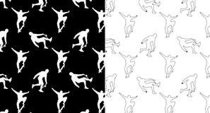 Ställ in av sömlösa modeller med konturer och översiktsskateboarders på en svartvit bakgrund vektor illustrationer