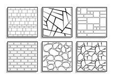 Ställ in av sömlösa stentexturer Svartvita modeller av bric stock illustrationer