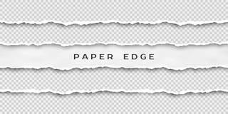 Ställ in av sönderrivna horisontalsömlösa pappers- band Pappers- textur med den skadade kanten som isoleras på genomskinlig bakgr stock illustrationer
