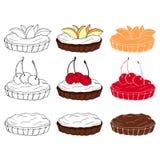 Ställ in av söta tartlets med olika toppningar i tre stilar royaltyfri illustrationer