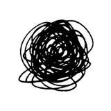 Ställ in av Scribble fläckar räcker dragit i pennan, beståndsdelar för vektorlogodesign royaltyfri illustrationer