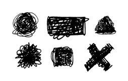 Ställ in av Scribble fläckar räcker dragit i pennan, beståndsdelar för vektorlogodesign vektor illustrationer
