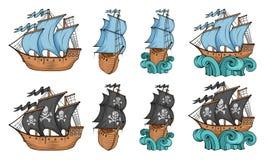 Ställ in av segla skepp och segelbåten Kommersiella segelbåtar som isoleras på vit bakgrund Piratkopiera segelbåtskeppet med svar stock illustrationer