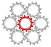 Ställ in av sju diagramkugghjul Gray And Red vektor illustrationer