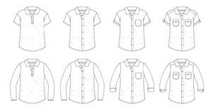 Ställ in av skjortor knäppas upp blusar stock illustrationer