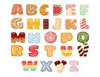 Ställ in av smakliga alfabetbokstäver Läckert sött, donuts, kakor som glasas, choklad, smaskig, smaklig formad alfabetstilsortsty stock illustrationer