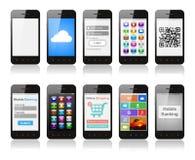 Ställ in av smartphones med manöverenhetsdesigner som visar olikt funktionellt royaltyfri illustrationer