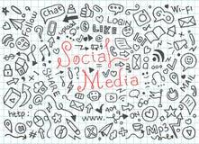 Ställ in av sociala massmediaklotter - vektor royaltyfri illustrationer
