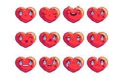 Ställ in av 12 som gemensam hjärta formade PIXELkonstemoji i röd färg royaltyfri bild
