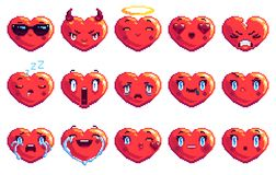 Ställ in av 15 som special hjärta formade PIXELkonstemoji i röd färg arkivbild
