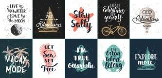 Ställ in av sommaraffärsföretag för 10 vektor och resa motivational och inspirerande affischer, kort, garnering, tryck, t-skjorta vektor illustrationer