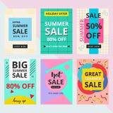 Ställ in av sommarförsäljningsbaner med Memphis stil vektor illustrationer