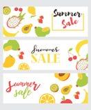 Ställ in av sommarförsäljningsreklamblad Vektoraffisch för sommarförsäljning med att skriva på sömlös modell med frukter stock illustrationer