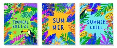 Ställ in av sommarvektorillustration med den ljusa tropiska sidor, blommor och tukan royaltyfri illustrationer