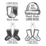 Ställ in av stack kläderetikettsockor, den svartvita hatten Logo för plats eller affär för hantverk släkt stock illustrationer