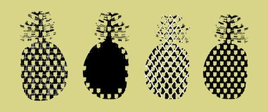 Ställ in av stiliserade konturer av ananasfrukter i klotterstil vektor illustrationer