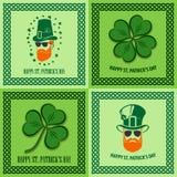 Ställ in av Sts Patrick dagaffischer, baner, etiketter, emblem, emblem eller hälsningkort också vektor för coreldrawillustration royaltyfri illustrationer