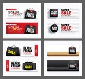 Ställ in av svart mall för räkning för påse för fredag försäljningsshopping och för rengöringsdukbanerdesign Bruk för affischen,  stock illustrationer