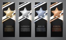 Ställ in av svarta baner, den guld-, platina-, silver- och bronsstjärnan, Ve stock illustrationer