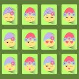 Ställ in av symboler av ägg-leendet för påsk tolv royaltyfri illustrationer
