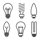 Ställ in av symboler för den ljusa kulan, olik lampa också vektor för coreldrawillustration royaltyfri illustrationer