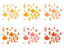 Ställ in av symboler för höstsidor eller för nedgånglövverk Lönn, ek eller björk och rönnblad Fallande poppel, bokträd eller alm  royaltyfri illustrationer