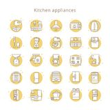 Ställ in av symboler för kökanordningar i linjen stil som isoleras på den vita bakgrunden stock illustrationer