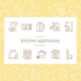 Ställ in av symboler för kökanordningar i linjen stil som isoleras på den vita bakgrunden vektor illustrationer