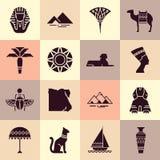 Ställ in av symboler i stilen av den plana designen på temat av Egypten royaltyfri illustrationer