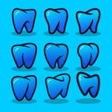 Ställ in av tand- moderna Logo Vector stock illustrationer