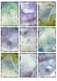 Ställ in av tappning nio som den blåa fjärilen avbildar abstrakt collage för bakgrunder stock illustrationer
