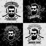 Ställ in av tappningBarber Shop logoer eller emblem stock illustrationer