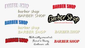 Ställ in av tappningbarberare shoppar logo royaltyfri illustrationer