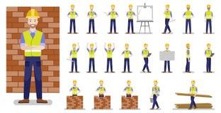 Ställ in av tecken som den lyckliga byggmästaren i olikt poserar på en vit bakgrund royaltyfri illustrationer