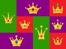 Ställ in av tecknad filmkronor Liten prinsessa och prins royaltyfri illustrationer