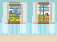 Ställ in av tecknad filmträfönstersikt med vita gardiner i plan stil vektor illustrationer