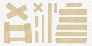 Ställ in av tejpen på en separat genomskinlig bakgrund vektor royaltyfri illustrationer