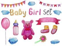Ställ in av tillbehör och objekt för en nyfödd flicka, den isolerade vattenfärgillustrationen stock illustrationer