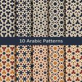 Ställ in av tio arabiska geometriska traditonalmodeller för sömlös vektor design för trycket, inre, textil som förpackar stock illustrationer