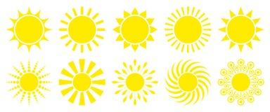 Ställ in av tio gula grafiska solsymboler royaltyfri illustrationer