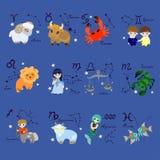 Ställ in av tolv som zodiak undertecknar i tecknad filmstil vektor vektor illustrationer